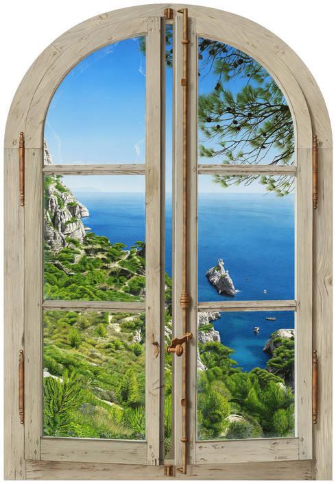 Les calanques de Sugiton: Couloir, entrée, escaliers de style de style Méditerranéen par Bernard Scholl
