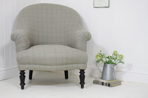 Elegant checked linen armchair: country Kitchen by Loop the Loop