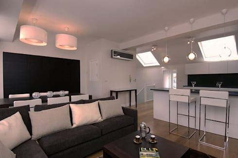 PROJECT: A 2-bed apartment in Bayswater.: modern Living room by Anna Hansson Design