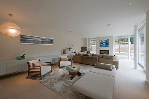 New villa in West Edinburgh - Living room: modern Houses by ZONE Architects