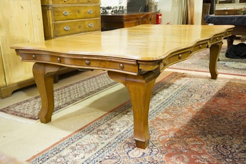 Riley serpentine antique snooker dining table.: classic Dining room by Brown's Antiques Billiards and Interiors