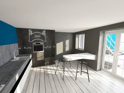 3d progetto cucina: Cucina in stile in stile Eclettico di Inarte Progetti di Lucio Mana