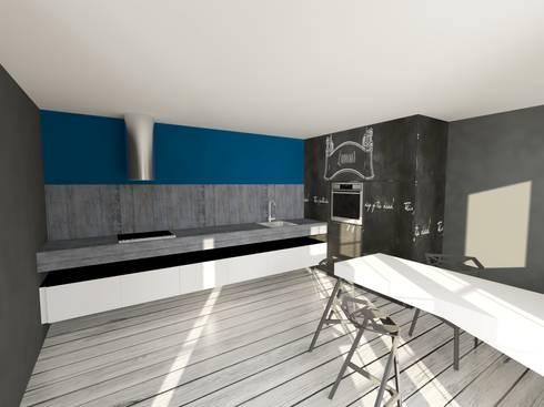 RENDERING DI PROGETTO: Cucina in stile in stile Eclettico di Inarte Progetti di Lucio Mana