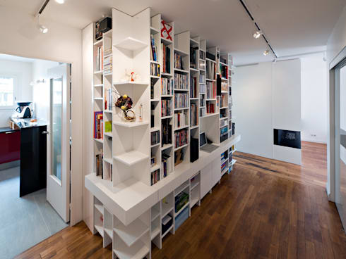 Meuble bibliothèque bureau by fables de murs homify