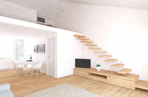 CASA D.T.: Soggiorno in stile in stile Moderno di aDC architetto Davide Conconi