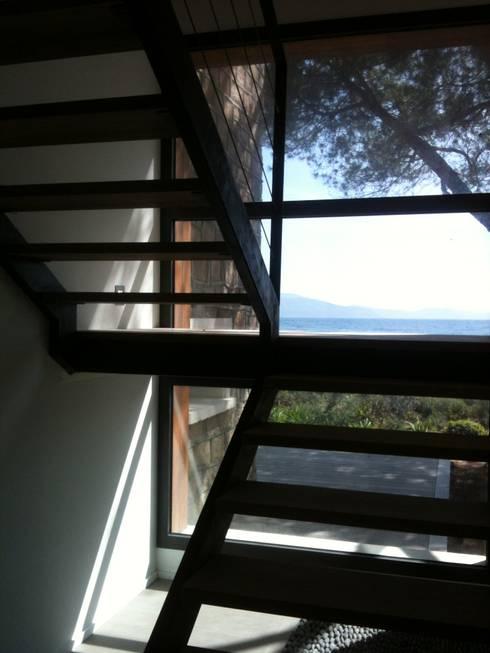 Villa pied dans l'eau: Couloir et hall d'entrée de style  par Véronique Desmit