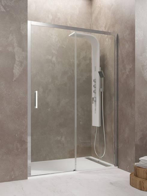 Mampara de ducha modelo Aktual 1fijo  + 1corredera: Baños de estilo moderno de MAMPARASYMAS ONLINE, SLU