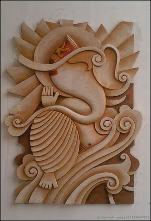 WALL RELIEF ON A.A.C BRICKS:  Walls by Drashtikon designer consultant (kamal maniya)