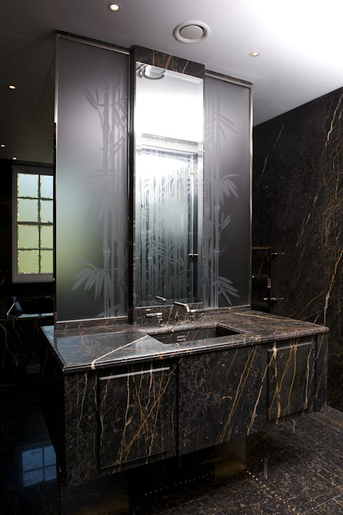 Carved Glass Doors and Screens:  Bathroom by Lucy Batt