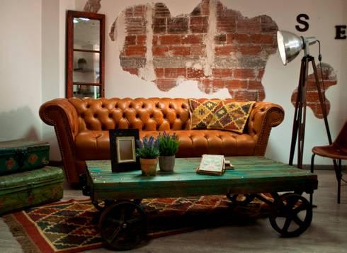 Salón de estilo vintage.: Salas de estilo industrial por Noelia Ünik Designs