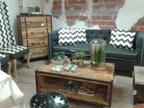 Sala de estilo vintage e industrial.: Salas de estilo industrial por Noelia Ünik Designs