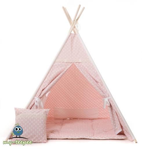 MY-TEEPEE KINDER-SPIELZELT ROSA mit passender Decke & Kissen: moderne Kinderzimmer von my-teepee®