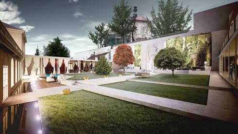 giardino interno e ristorante:  in stile  di OPEN PROJECT