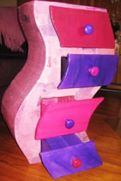 Chevet ondulant: Chambre d'enfants de style  par Ca cartonne avec Isa