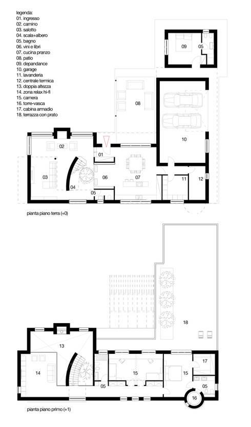 planimetria: Case in stile in stile Mediterraneo di m12 architettura design