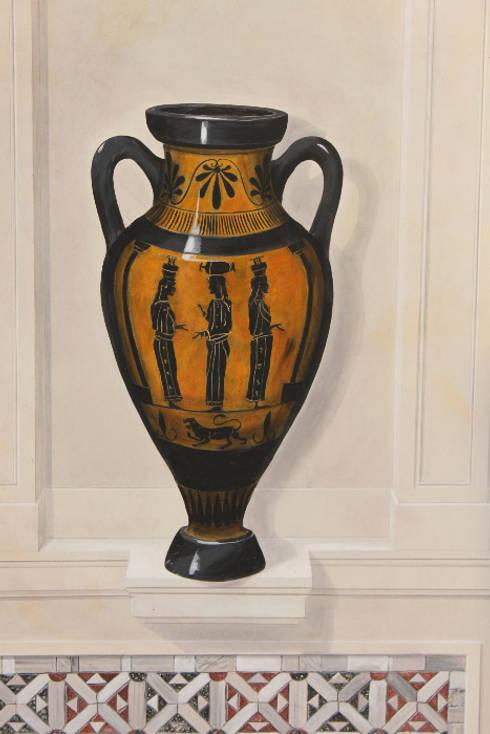 Vase peint en trompe-l'oeil sur facade extérieure:  de style  par THIERRY HERR