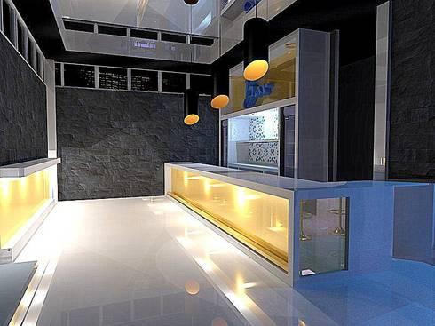 City Centre Bar/Lounge Club Design: modern Wine cellar by ULA Interiors