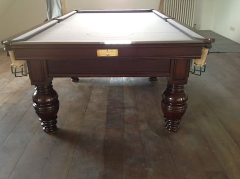 9ft antique snooker table by Jelks.:  Interior landscaping by Brown's Antiques Billiards and Interiors