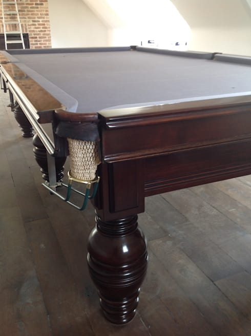 9ft antique snooker table with silver cloth.:  Interior landscaping by Brown's Antiques Billiards and Interiors