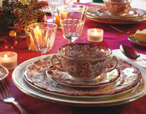 vajilla Aurora Rosa 202- 56 piezas: Comedor de estilo  de REGALARHOGAR