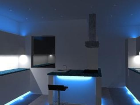 RGB and cold white lighting:  Houses by Casatech