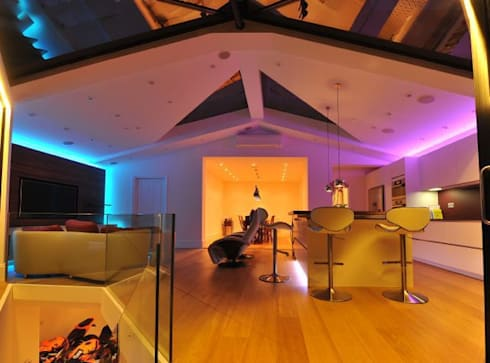 Semi-detached glory hole: modern Living room by Paul Wiggins Architects