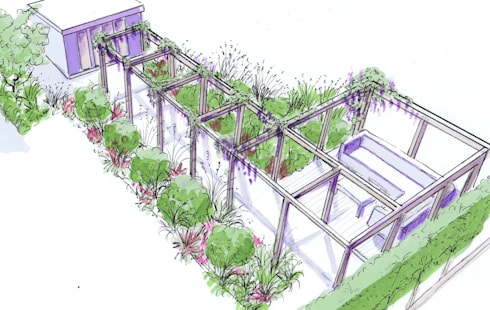 Pergola, deck and garden studio: modern Garden by Bea Ray Garden Design Ltd