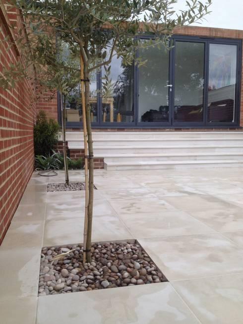 Sandstone paving & steps:  Terrace by Paul Newman Landscapes
