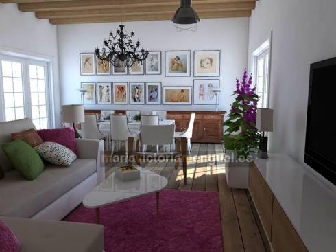 Zona de televisión y comedor.: Salones de estilo ecléctico de MUMARQ ARQUITECTURA E INTERIORISMO