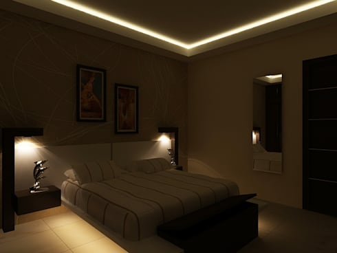 Bed with light effect:  Bedroom by Nature in My Life
