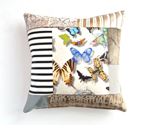 Thai luxury patchwork cushion: eclectic Living room by Suzy Newton Ltd.