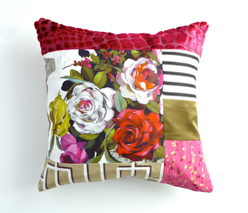 Rose luxury patchwork cushion: eclectic Living room by Suzy Newton Ltd.