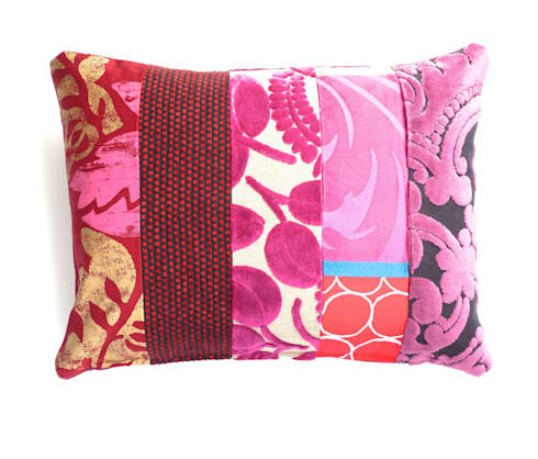 Ariagny luxury patchwork cushion: eclectic Living room by Suzy Newton Ltd.