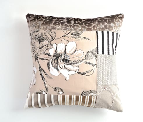 Tabitha luxury patchwork cushion: eclectic Living room by Suzy Newton Ltd.