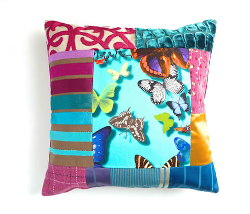 Belle luxury patchwork cushion: eclectic Living room by Suzy Newton Ltd.