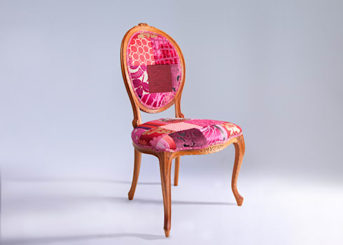 Oval backed luxury patchwork dining chair in reds: eclectic Dining room by Suzy Newton Ltd.