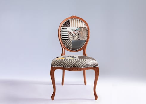 Oval backed luxury patchwork dining chair in neutrals: eclectic Dining room by Suzy Newton Ltd.