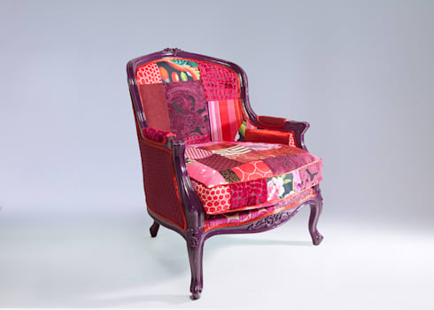 Louis luxury patchwork tub chair: eclectic Living room by Suzy Newton Ltd.
