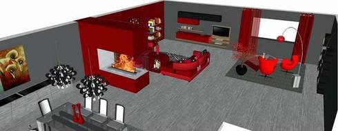 La zona pranzo in soggiorno:  in stile  di Studio di Progettazione e Interior Design Cinzia Simonini