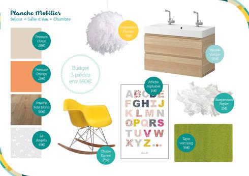 Planche mobilier du Rez-de-chaussée: Maison de style  par Angèle Ethuin - Designer d'intérieur & Coloriste