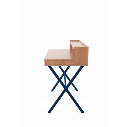 Desk Hyppolite color blue marine—Design Florence Watine for brand Harto : modern Study/office by La Corbeille Éditions