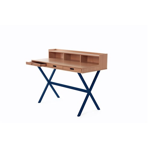 Desk Hyppolite color blue marine - Design Florence Watine for brand Harto : modern Study/office by La Corbeille Éditions