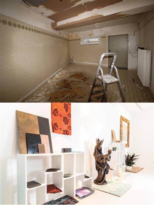 Materialpräsentation vorher/ nachher:   von Wohnwert Innenarchitektur