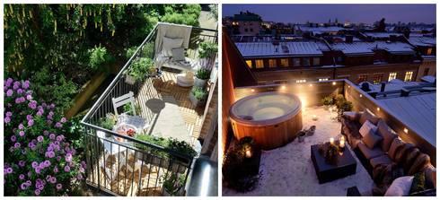 Alvhem Mäkleri & Interiör - balcony: scandinavian Living room by Magdalena Kosidlo