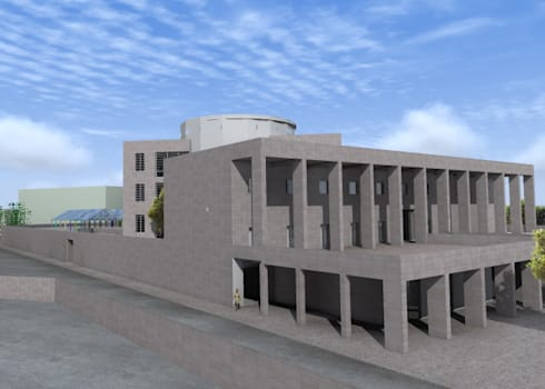 "efficient energy buildings ""una biblioteca per catania"": Sala multimediale in stile  di Archisolving, soluzioni d'architettura NZEB"