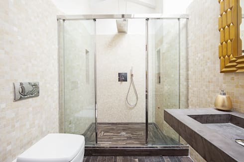 BAGNO MANSARDA: Bagno in stile in stile Moderno di Andrea Stortoni Architetto