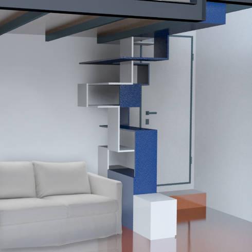 Render con foto inserimento: Ingresso, Corridoio & Scale in stile in stile Moderno di BRENSO Architecture & Design