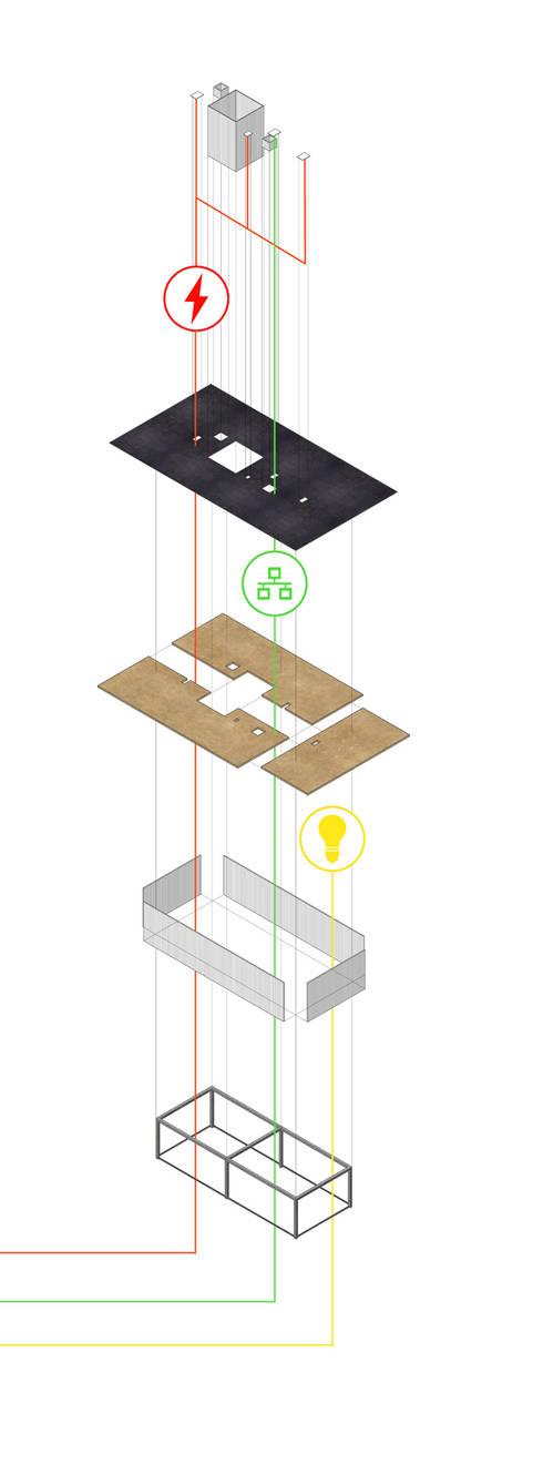 Schema di montaggio: Studio in stile  di BRENSO Architecture & Design