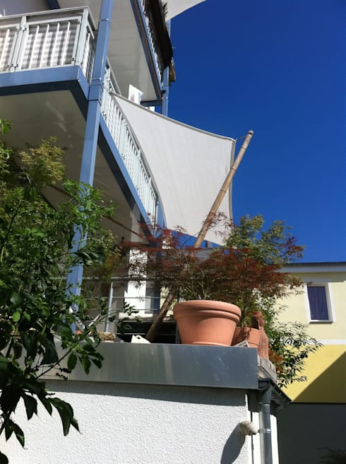 Sonnensegel nach Mass: moderner Balkon, Veranda & Terrasse von Textile Sonnenschutz- Technik
