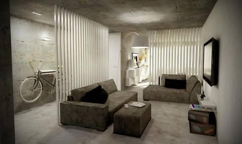 Open Space: Salas de estar industriais por Santiago   Interior Design Studio